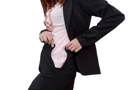 her: Chubby businesswoman cannot button up her clothes. belly fat concept Stock Photo