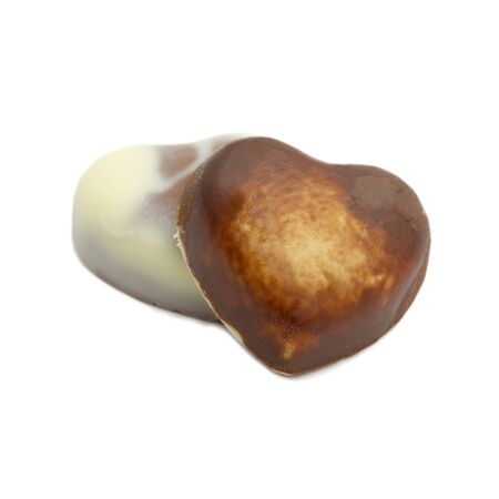 Heart milk chocolate isolated on white background