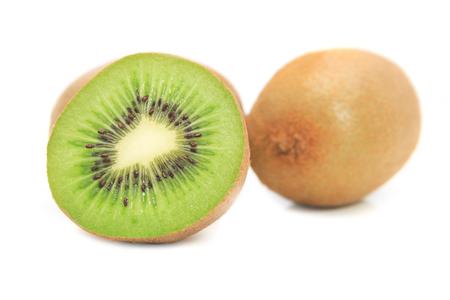 Cut of kiwi fruits isolated on white background