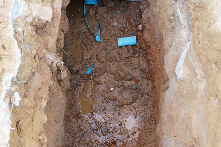 Broken water pipes waiting for repairing