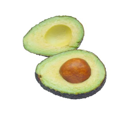 Half avocado isolated on white background