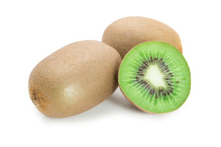 Cut of kiwi fruits isolated on white background. Stock Photo