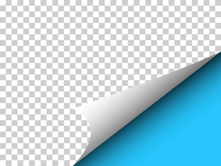 Paper with curly corner and shadow on transparency  - web banner, blue