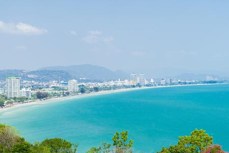 Pattaya beach , sea and city bird eye view, Chonburi in Thailand