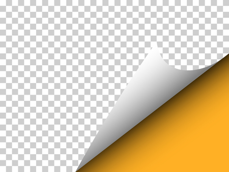 Paper with curly corner and shadow on transparency - Vector illustration - web banner, orange
