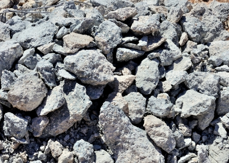 rubble: Rubble and debris of a concrete structure as a result of demolition of building