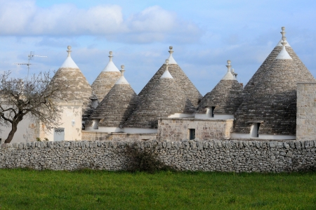 Murge  Puglia, Italy  - Characteristic trulli near countryside Alberobello