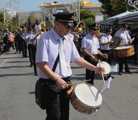 patron: band playing drums patron saint Rocco Modugno - Italy