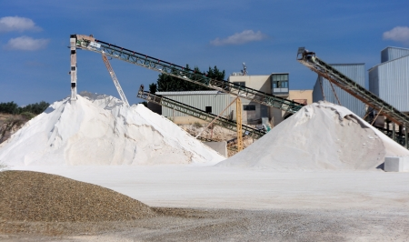 sand quarry: Limestone quarry with modern crushing and screening equipment