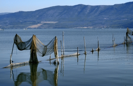 aquaculture: Lake Varano - particularly aquaculture facility - Apulia - Italy