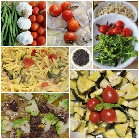 Collage of dishes with ingredients of Italian cuisine  pasta, tomato, oil, eggplant, zucchini, tortelli photo