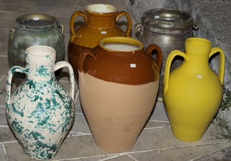 handmade terracotta containers for oil, wine, etc photo