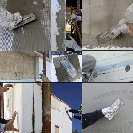 plastering: Collage construction site - Installing external insulation Facade therm Stock Photo