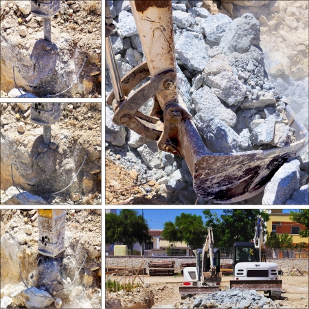 Collage construction site  Excavator with hammer engaged in excavation of foundation photo