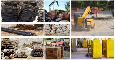 Storage building materials with the use of a telescopic loader and forklift Standard-Bild