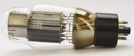 Vacuum Tube 6AS7G (equivalent 6080) on white background  photo