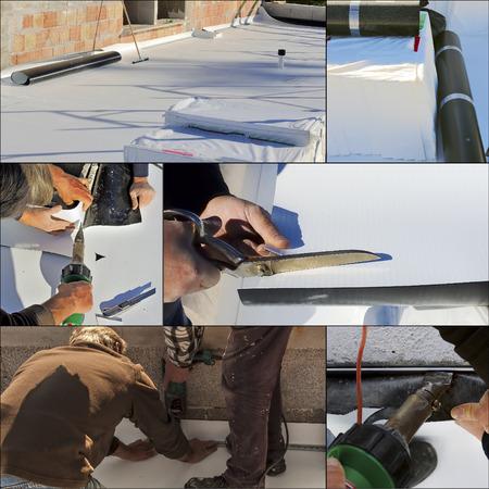 コラージュの防水および絶縁材ポリ塩化ビニールのテラス 写真素材