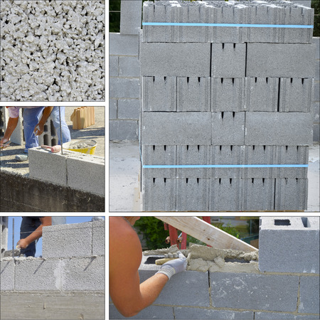 Construction site - Collage concrete brick wall photo