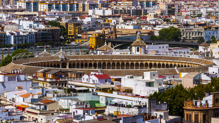 bullfight: Bullfight arena aerial view in Seville, Spain Stock Photo