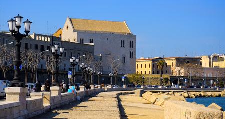bari: Bari, Italy - February 15, 2015: Church San Nicola, rear view from the promenade of Bari