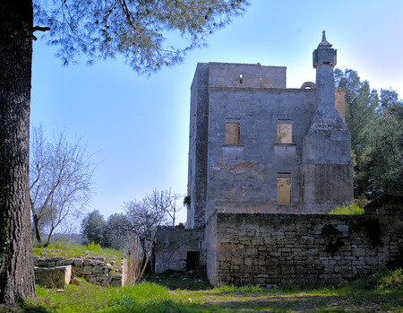 mid distance: Old abandoned farmhouse in the middle of olive trees and stone walls in Puglia. Stock Photo