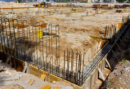 formwork: Wood formwork and reinforcing steel bars use in construction site for ground beam