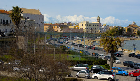 bari: BARI, ITALY - March 8, 2015:  Church San Nicola, rear view from the promenade of Bari