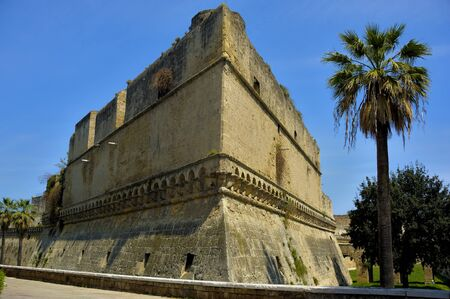 norman castle: Detail swabian Castle of Bari with tree. Puglia. Italy.