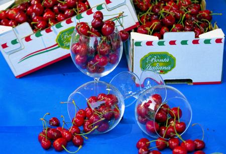 certain: exposure to certain varieties of sweet cherries produced in Puglia Stock Photo