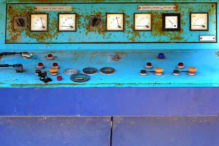 command button: Old electronic control panel of generator set