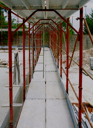 scaffolds: scaffolds manufactured for the construction of a new building Stock Photo