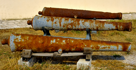 deck cannon: Ancient bombards recovered from the sea near Torre Mileto, apulia. Italy Stock Photo