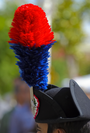carabineer: Close up feather plumed bicorne carabinieri, italian policemen
