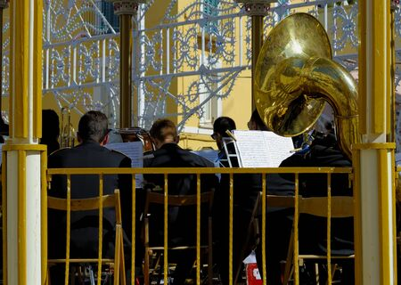 patron: orchestral playing on a sounding board used for performances by orchestras during patron saint festivals in Puglia. Italy Stock Photo