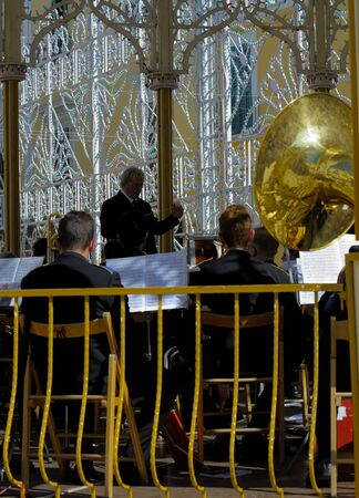 sound box: Modugno, Italy - September 27, 2015 - ITALY. Conductor directs the orchestra on a sounding board During The patron feast