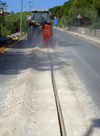 fiberglass: micro trench executed for the execution Fiberglass network