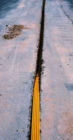 trench: fiber optic cables buried in a micro trench