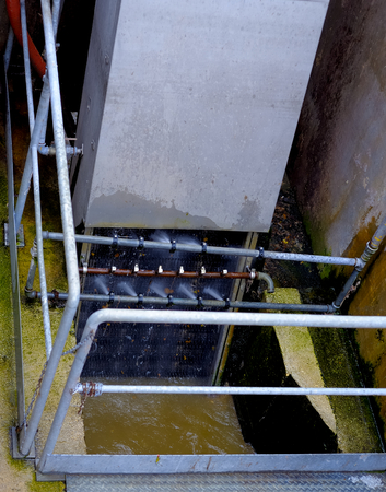 sludge: Activated sludge tank at a wastewater treatment plant.