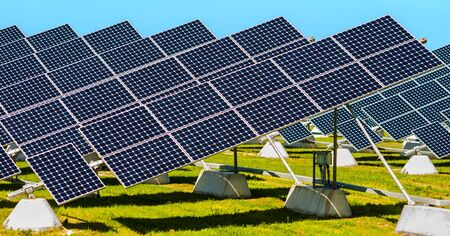 apulia: Solar panels placed on a countryside meadow of apulia
