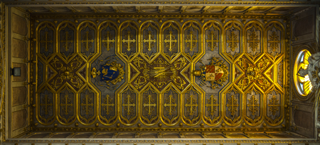 sumptuous: Cathedral of Altamura: against a sumptuous gilded wooden ceiling. Stock Photo