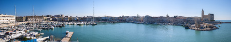 Trani, Italy - May 22, 2016: Panoramic the port and the beautiful church of the town of Trani in Apulia