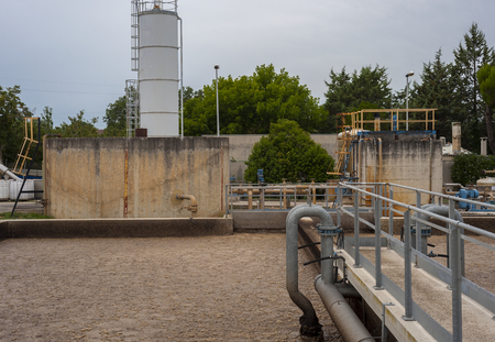 Activated sludge tank at a wastewater treatment plant.