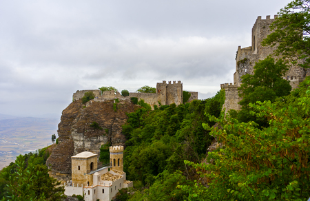 erice: panoramic view of Erice town, Sicily, Italy