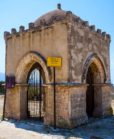 Chapel of Saint Crescentia in San Vito lo Capo Sicily. Italy.Small square chapel built in the thirteenth century in honor of the nurse of St. Vitus, St. Crescentia