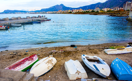 Boats cemetery. Old row boats on a beach