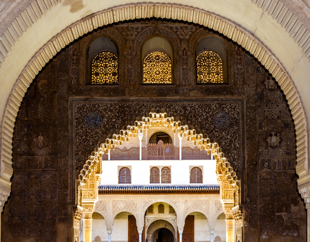 Moresque ornaments from Alhambra Islamic Royal Palace, Granada, Spain Editorial