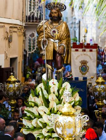 Modugno, September 25, 2016 - ITALY: Religious statue of San Rocco in procession through the streets of Modugno, Puglia. Italy Stock Photo
