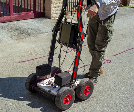 The GPR is a noninvasive method used in geophysics. It is based on the analysis of electromagnetic waves in the ground reflections. Stock Photo