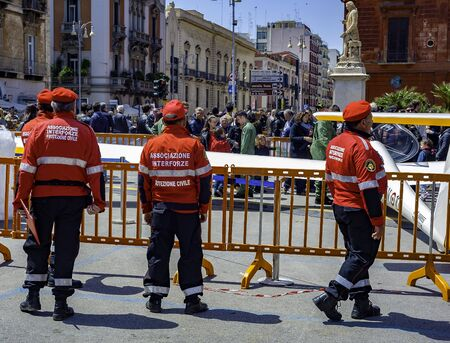 Bari, ITALY - 30 April 2017: Civil Protection personnel preside over a spot on a religious holiday in the city of Bari. Puglia - Italy