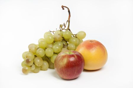composition of fruits on white background photo